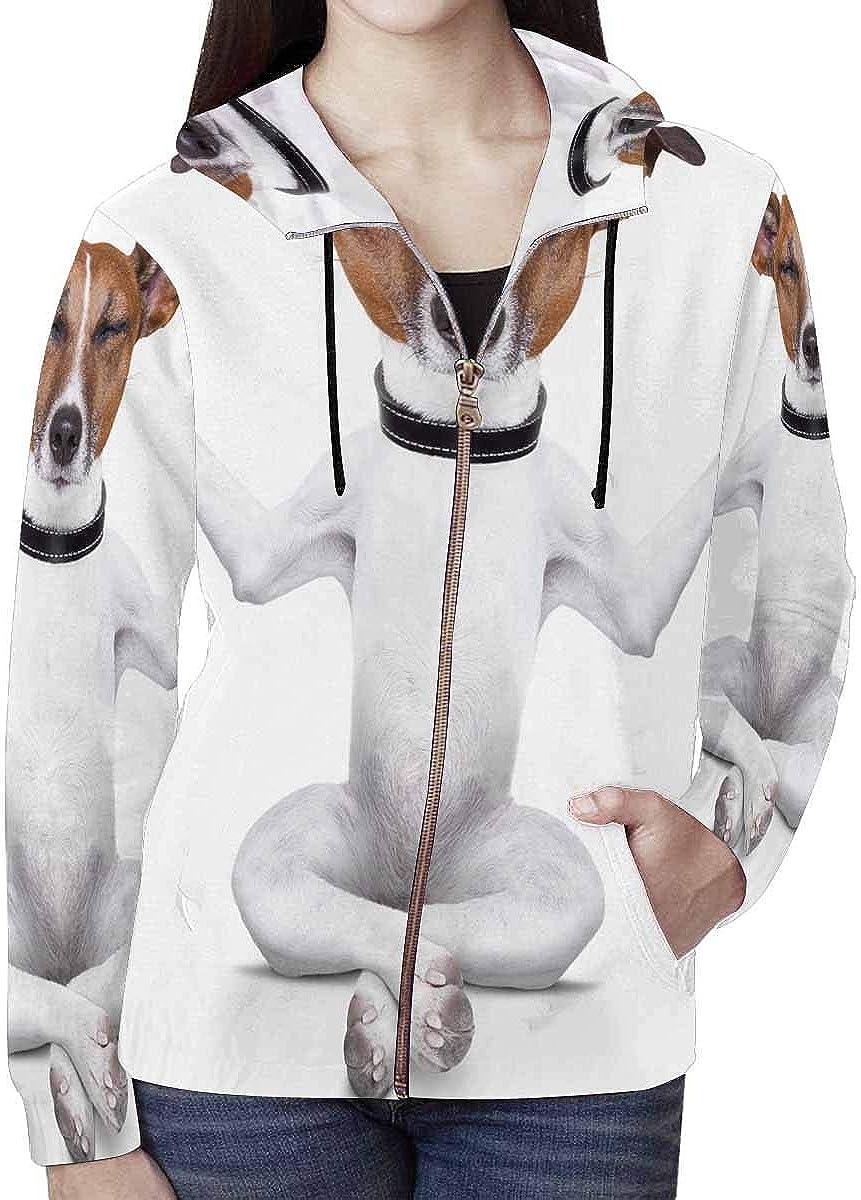 INTERESTPRINT Womens Full-Zip Hoodie Funny Yoga Puppy Dog