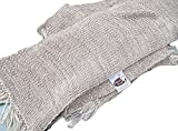 SWEET DREAMS HOME - Luxurious Antiallergenic 100% Peruvian Royal Alpaca Scarf Shawl (14'' W x 71'' L inches + 4'' inches fringes; 500 grams) Natural Mixed Beige /Ivory, Organic, Handmade, Crochet knitted