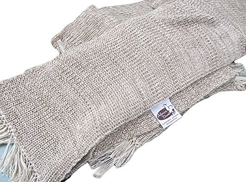 SWEET DREAMS HOME - Luxurious Antiallergenic 100% Peruvian Royal Alpaca Scarf Shawl (14'' W x 71'' L inches + 4'' inches fringes; 500 grams) Natural Mixed Beige /Ivory, Organic, Handmade, Crochet knitted by Sweet Dreams Home