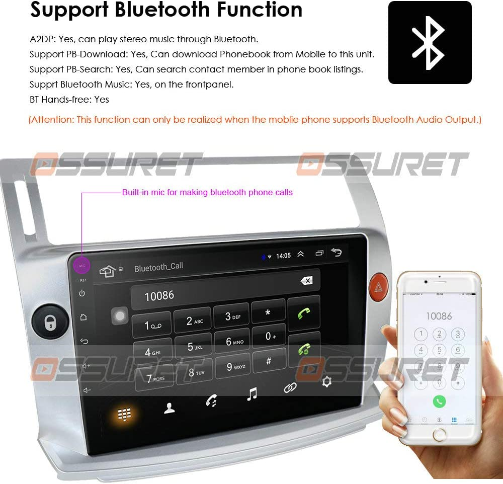 C-Triomphe//C-Quatre 2004-2009 Soporte de Control del Volante micr/ófono Gratuito Ossuret 9 Inch Car Stereo Android 10 Car FM Radio Fit para Citroen C4