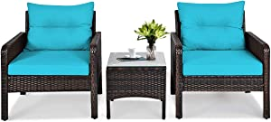 Tangkula 3 Piece Outdoor Patio Furniture Set, Wicker Chairs Set with Glass Top Coffee Table, Thick Cushions, All Weather Garden Lawn Poolside Backyard Porch Furniture Set for 2 (Turquoise)