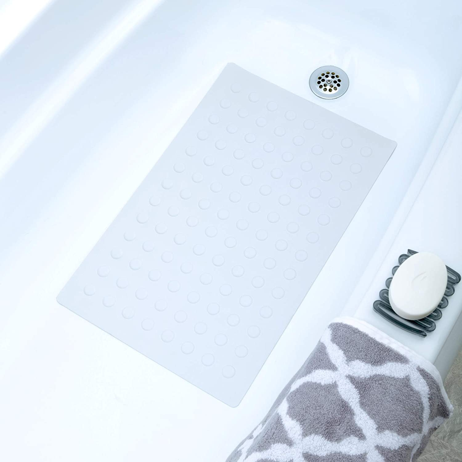 "SlipX Solutions White Rubber Bath Safety Mat Provides Essential Coverage & Reliable Slip-Resistance in Tubs & Showers (14"" x 22"", 100+ Suction Cups, Machine Washable): Home & Kitchen"
