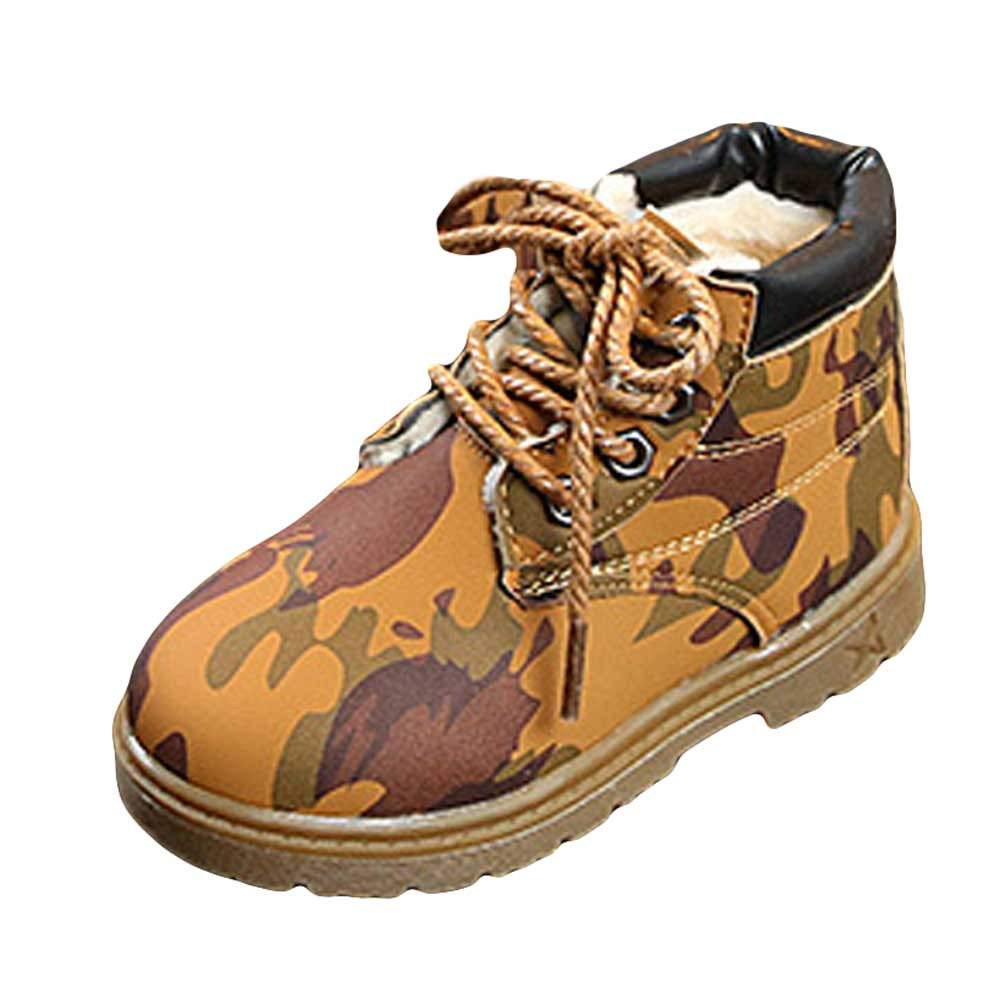 Baulody Baby Kids Boots Girl Boy Waterproof Martin Boots Camouflage Shoes Rain Hiking Winter Snow Booties for Toddlers//Little Kids 3-3.5Years Old , Army Green 25