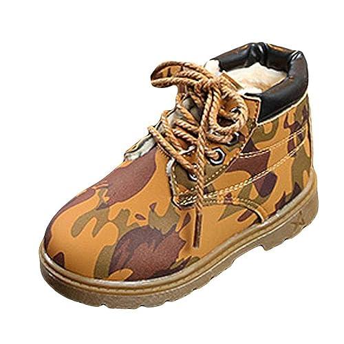 Botines para Niños K-youth Botas Bebe Niño Niña Sneaker Zapatos con Forro Caliente Camuflaje