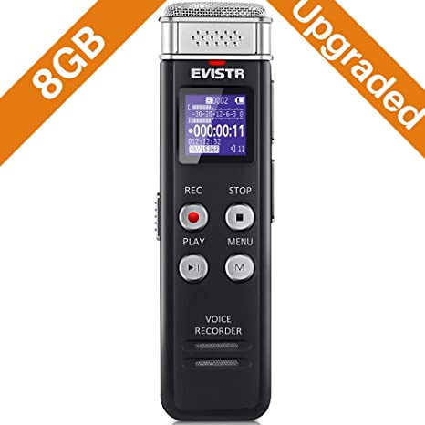 amazon com evistr 8gb digital voice recorder voice activated