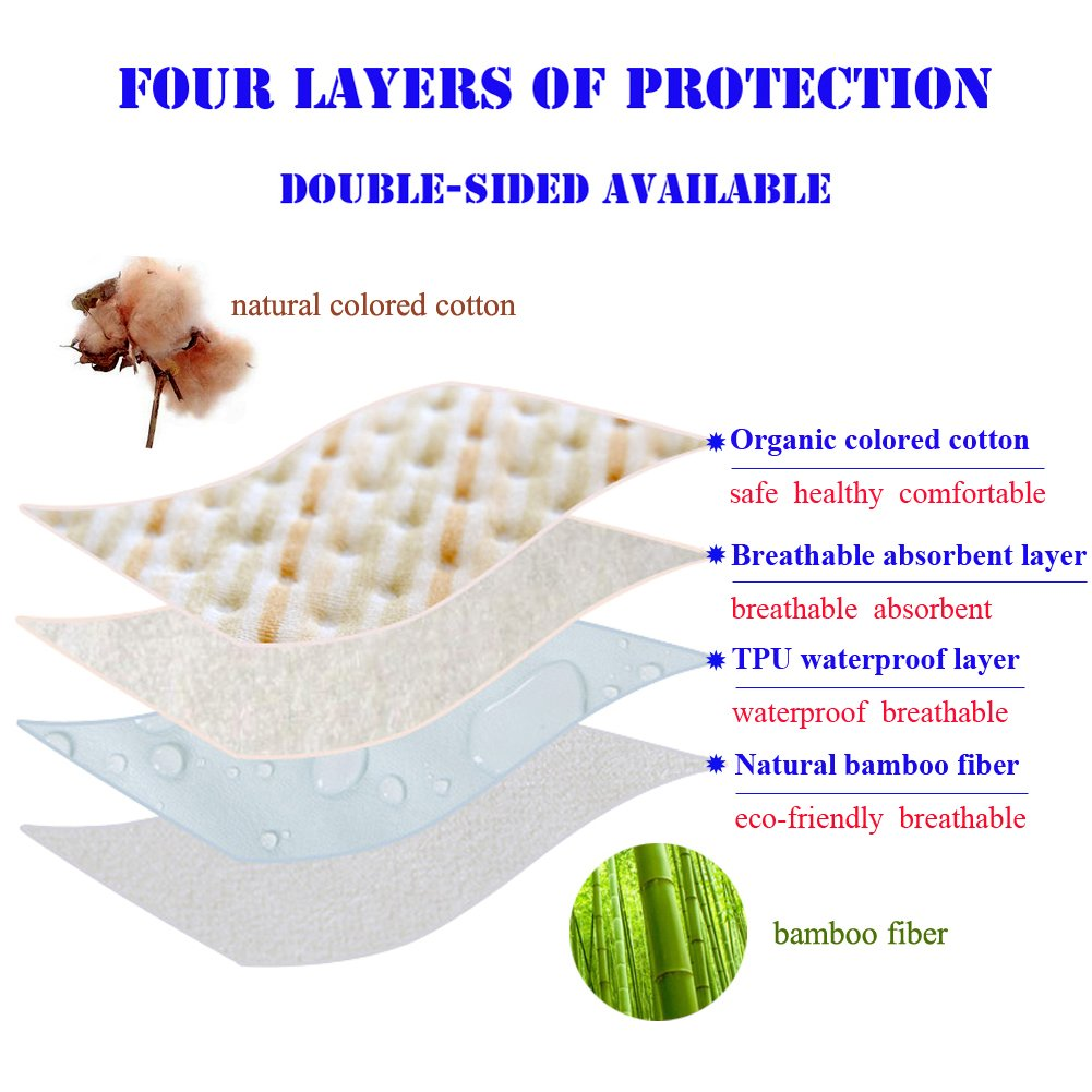 Incontinence Mattress Protector Seniors Waterproof Bed Pad The Aged Elderly Absorbent Underpads Golden Years Bed-Wetting Enuresis Spill Mat Natural Organic Cotton Washable Reusable(Color, XXXL) by LiBuy (Image #6)