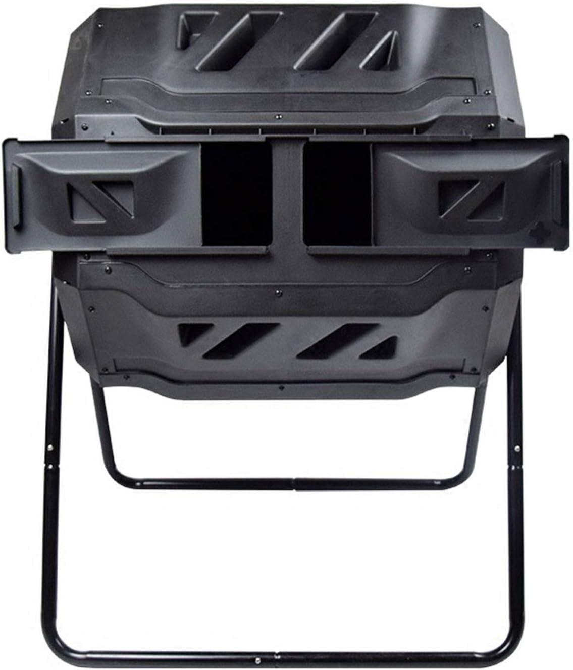 Tumbling Composter Cubo De Compostaje De Lote Giratorio Doble 160L Negro