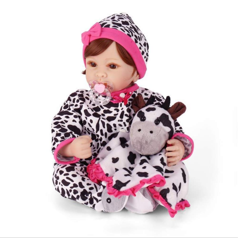 Kids Beach Toys Cow Design Rewborn Nursery Baby Alive Doll Realistic Pretend Role Play Kids Toys Cute Newborn Baby Girl Doll Lifelike With Clothes Hat Feeding Toys Baby Toddlers Infants Girls Boys Gif