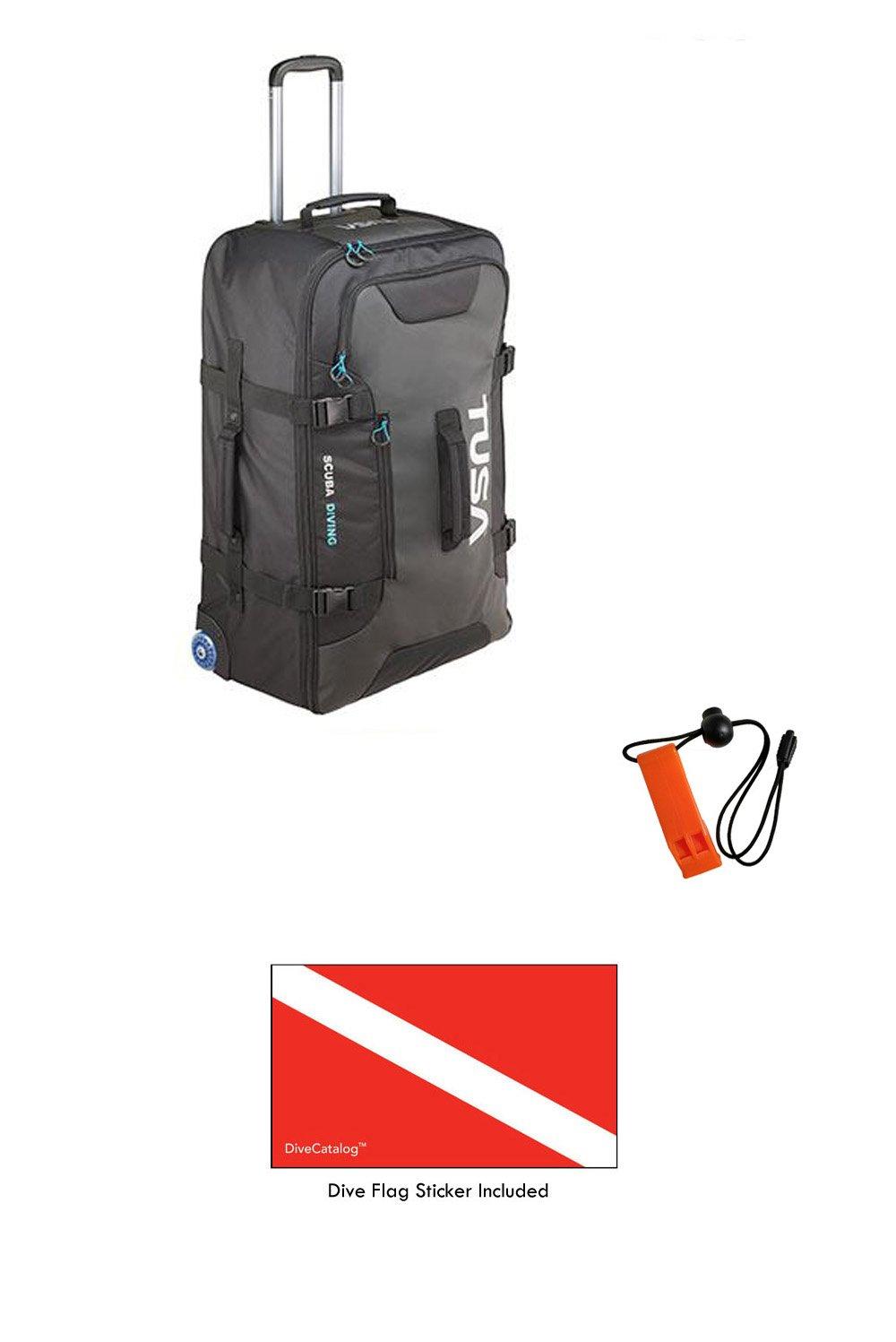 Tusa Large Roller Bag in Black & DiveCatalog's Orange Whistle w/Lanyard & Dive Flag Sticker by Tusa