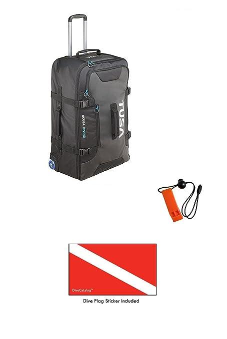 15c4854d1780 Amazon.com : Tusa Large Roller Bag in Black & DiveCatalog's Orange ...
