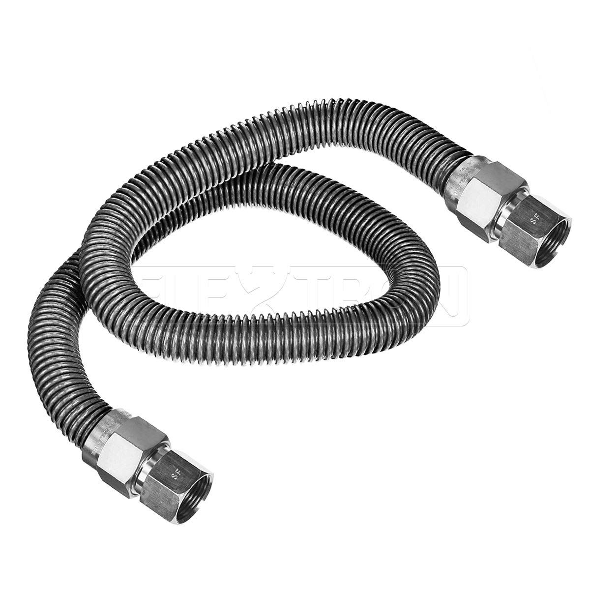 Flextron FTGC-SS38-72I 72 Inch Flexible Gas Line Connector with 1/2 Inch Outer Diameter & 3/8 Inch FIP x 3/8 Inch MIP Fittings, Uncoated Stainless Steel Water Heater Connector, CSA Approved Everflow Supplies