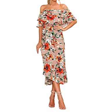 87581ee5ee18 Amazon.com: VIASA Womens Summer Off Shouder Boho Long Summer Sexy Maxi Dress  Loose Plus Size Beach Holiday Sundress: Clothing