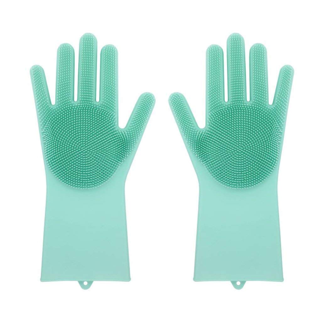 EnjoCho❤️Clearance!❤️Magic Reusable Home Garden Kitchen Dish Cleaning Brush Scrubber Cleaning Glove Fingers Silicone Household Cleaning Gloves Heat Resistant for Dishwashing Pet Hair Care (Green)