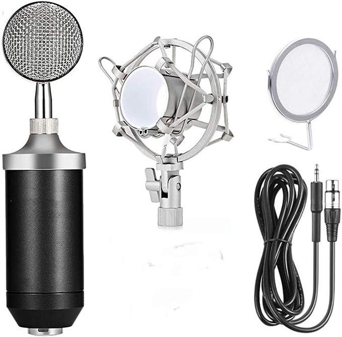 مجموعة ميكروفون ميكروفون مكثف احترافي من مايك ميك، مجموعة ميكروفون XL كبير للتسجيل (أسود) (ميكروفون M-01، أسود)