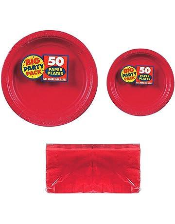 94fa0c4c1 Serves 50 | Big Party Pack Apple Red 50-Set (Dinner Plates, Dessert