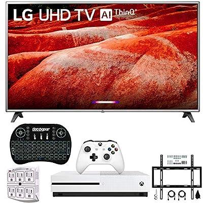"LG 86UM8070 86"" 4K HDR Smart LED IPS TV w/AI ThinQ 2019 Model (LG86UM8070PUA 86UM8070PUA 86UM8070P) with Xbox One S 1TB, Wireless Backlit Keyboard, Flat Wall Mount Kit & SurgePro 6-Outlet Surge Ad"