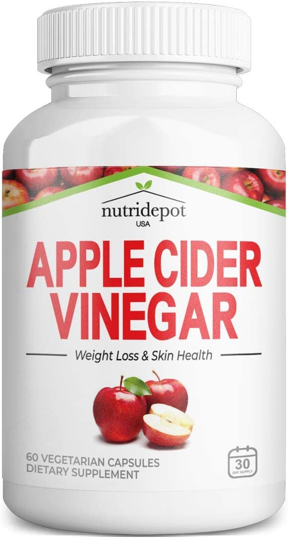 Apple Cider Vinegar Capsules with Vitamin C - 1000mg per Serving - Supports Healthy Weight, Keto, Digestion, Skin & Gut Health, Detox, Immune * - 60 Vegetarian Capsules