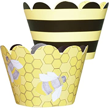 MINI Bumble Bee Theme Cupcake Wrappers Yellow And Black Baby Shower Birthday Party Supplies
