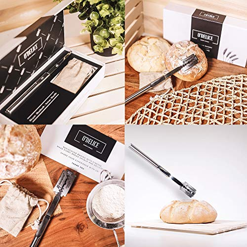 Stainless Steel Bread Lame in Gift Storage Box - Custom Shaped Timeless Design Dough Scoring Tool - Includes 10 Replaceable Blades Stored in Handmade Linen Bag - A baker's Favorite Bread Lame