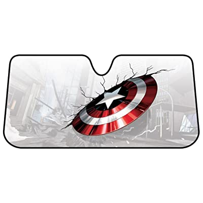 Plasticolor 003756R01 Captain America Marvel Broken Shield Accordion Bubble Sunshade: PlastiColor: Automotive