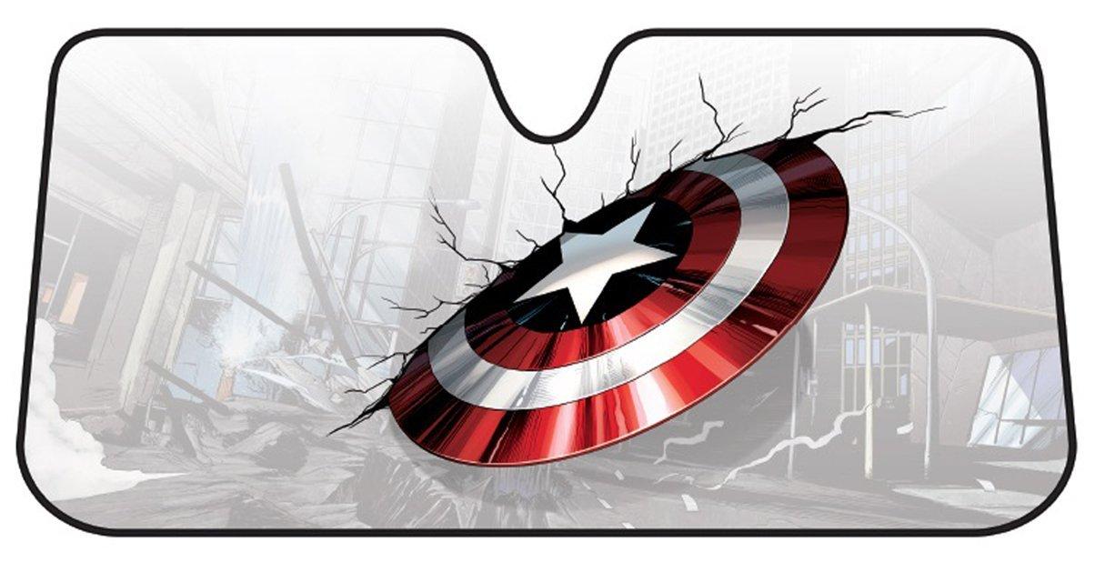 Plasticolor 003756R01 Captain America Marvel Broken Shield Accordion Bubble Sunshade