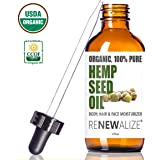 Organic HEMP SEED OIL Facial Moisturizer by Renewalize in LARGE 4 OZ. DARK GLASS BOTTLE | 100% Pure Cold Pressed and…