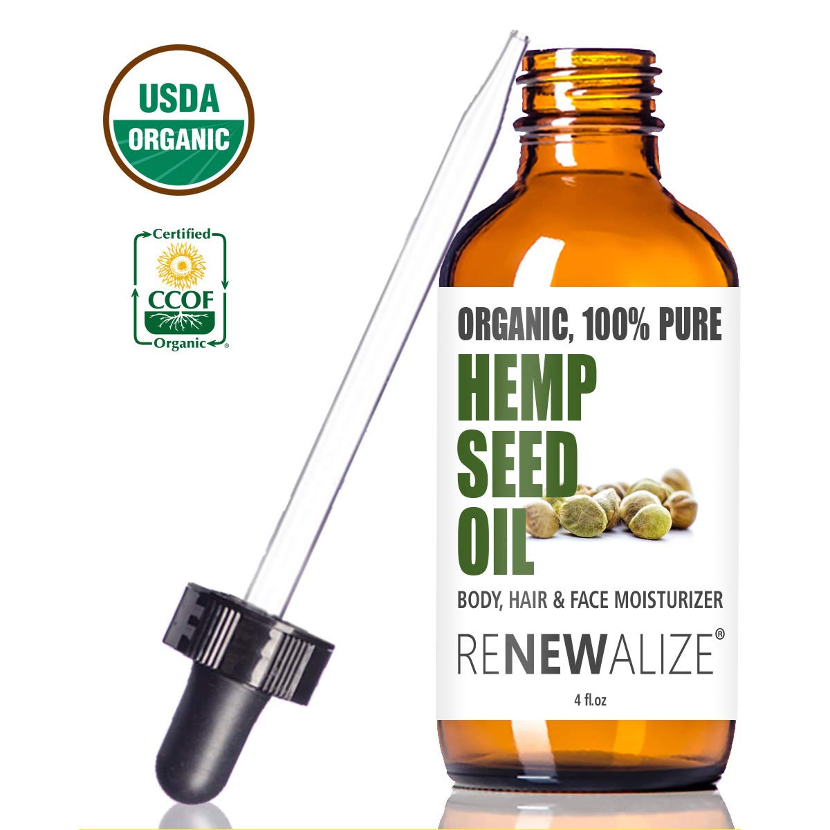 Renewalize Certified Organic Hemp Seed Cleansing Oil - Face Cleanser and Moisturizer   100% Pure Cold Pressed and Unrefined   Best Daily, Night time, Facial Regimen for Acne Pimple Prone Skin 4oz