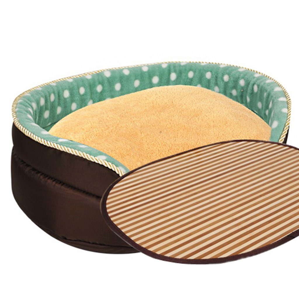 Full Set 45cm Full Set 45cm Pet bed can be separated cleaning PP cotton warm four seasons common cave green ( color   Full set , Size   45cm )