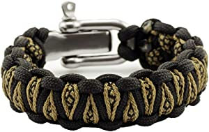 Grand Way Paracord Survival Bracelet with Adjustable Stainless Steel Shackle