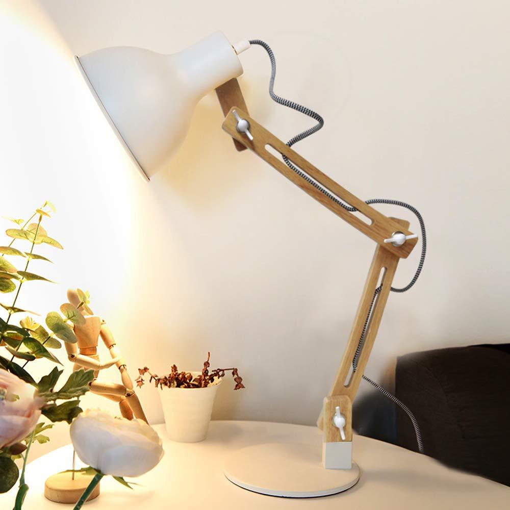 f/ür B/üro klassische Leselampe,wei/ß DLLT e27 Tischlampe mit verstellbarer Holzarm Schreibtischlampe mit Druckschalter Wohnzimmer Kinderzimmer usw. Arbeitszimmer Schlafzimmer