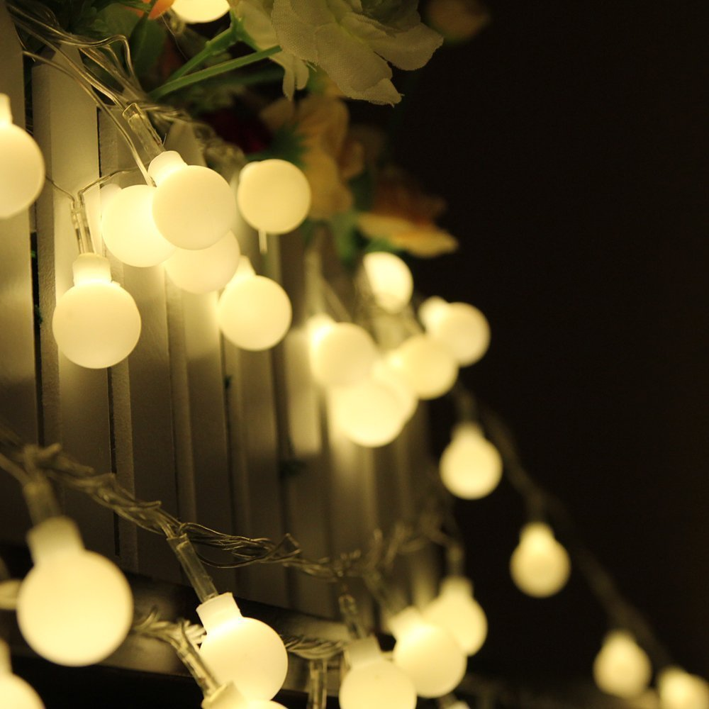 [Remote & Timer] WONFAST 8 Modes 16FT 50 LED Starry White Ball Globe Christmas Fairy String Lights for Outdoor Garden,Patio,Wedding,Party Decorations,Battery Operated(Warm White)