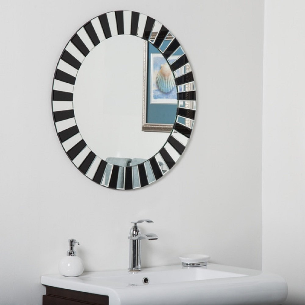 Amazon.com: NEW! Modern Style Round Tiara Bathroom Mirror, Black ...