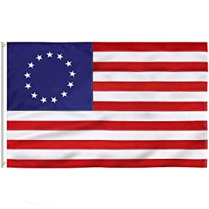 FLAGBURG Betsy Ross Flag 3x5 Ft , 13 Star American Flag with Embroidered Stars, Sewn Stripes and Brass Grommets. Vibrant Color, Heavy Duty Colonial US flag for Outdoor Indoor Use