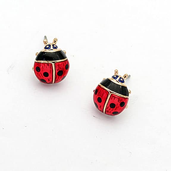 18k Gold Plated Enamel Red Spotty Beetle Ladybird Stud Earrings Beetles 10mm Girl Jewellery Gift UK