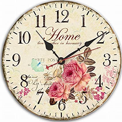 "Jinberry 12"" (30cm) Retro Vintage Reloj de Pared Silenciosos Antiguo de Madera /"