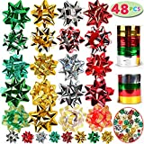 JOYIN 48 Self Adhesive Bows with 8 Rolls of Curling Ribbons for Christmas, Bows, Baskets, Wine Bottles Decoration, Gift Wrapping and Decoration Present: more info