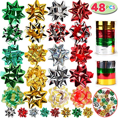 JOYIN 48 Self Adhesive Christmas Gift Bows with 8 Rolls of C