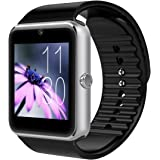 Luxsure® GT08 Bluetooth Smart Watch Wrist Watch Phone with SIM Card Slot and NFC Smart Health Watch for Android Samsung HTC and IOS Apple iphone Smartphone- Silver black band