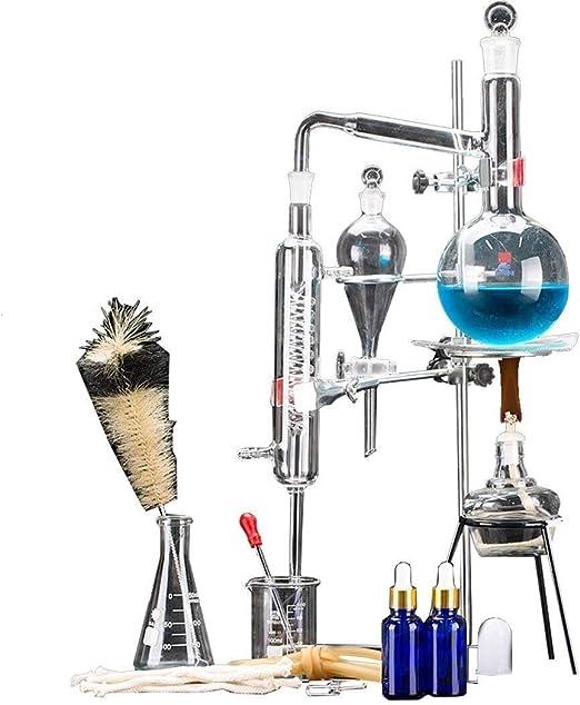 Sucastle 24 Piezas 500 ml Destilador de Agua Purificador Kits de cristalería Laboratorio Aceite Esencial Aparato de ...