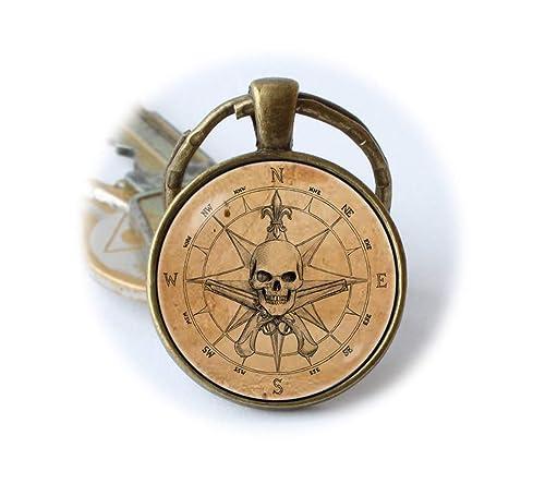 Pirata llavero antiguo brújula clave cadena pirata Brújula ...
