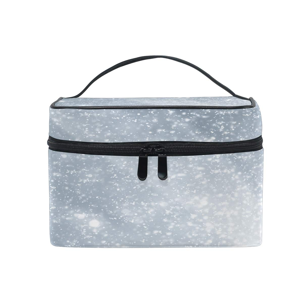 Makeup Bag Abstract Silver Background White Particles Trendy Cosmetic Bag Travel Toiletry Bag Cosmetic Train Case Makeup Tote Make-Up Organizer Box Storage With Mesh Bag Brush Holder for Women Kids Me