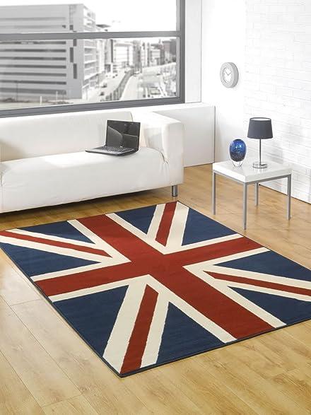 Large Buckingham Great Britain Flag Union Jack Design Blue Red White Rug 4u0027  X 5