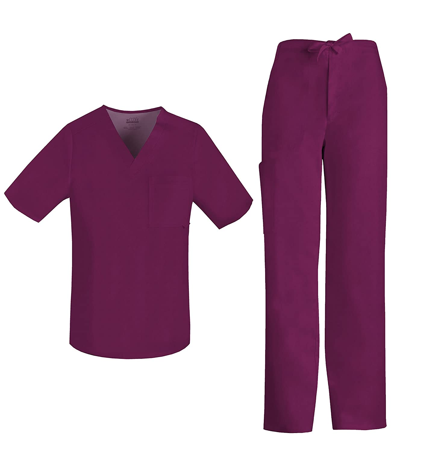 c7ddc264917 Scrub Set includes the Cherokee Luxe Men\'s V-Neck Top 1929 & Cherokee Luxe  Men\'s Drawstring Cargo Pant 1022. Men\'s classic fit V-Neck scrub top  features ...