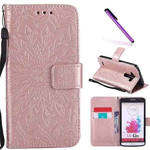 LG G3 Case,LEECOCO Fancy Embossed Floral Pattern Wallet Case with Card / Cash Slots [Kickstand] Shockproof Premium PU Leather Flip Case Cover for LG G3 with 1 x Stylus Pen Mandala Rose Gold (G3 Lg Phone Gold Case)