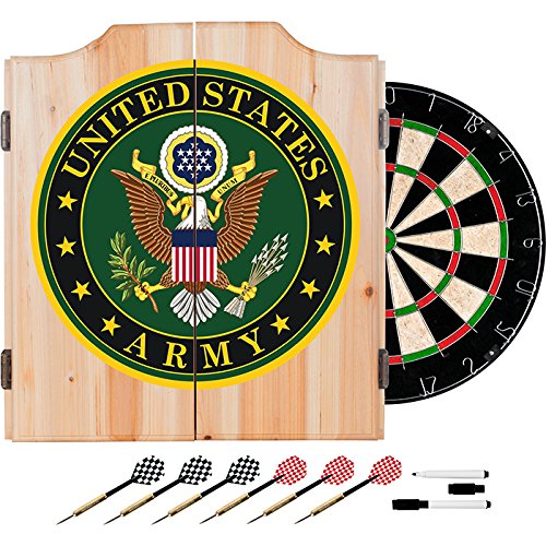 US Army Logo Design Deluxe Solid Wood Cabinet Complete Dart Set by TMG