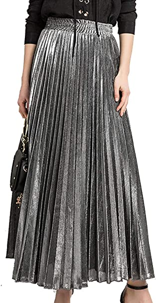 BLACKMYTH Mujer Invierno Casual Cintura Alta Metallic Shiny ...
