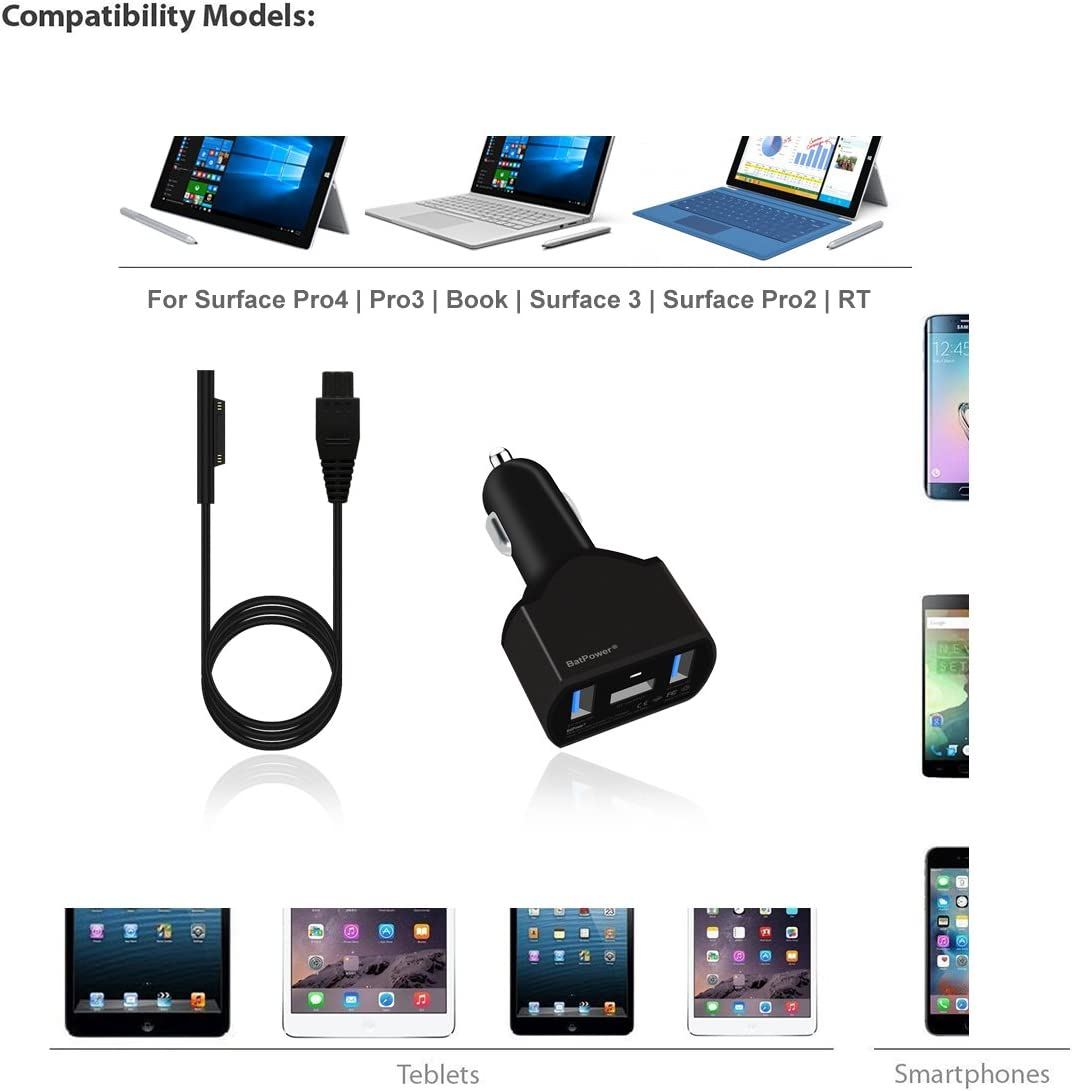 BatPower 110W Microsoft Surface Laptop Book Pro Car Charger Adapter Power Supply