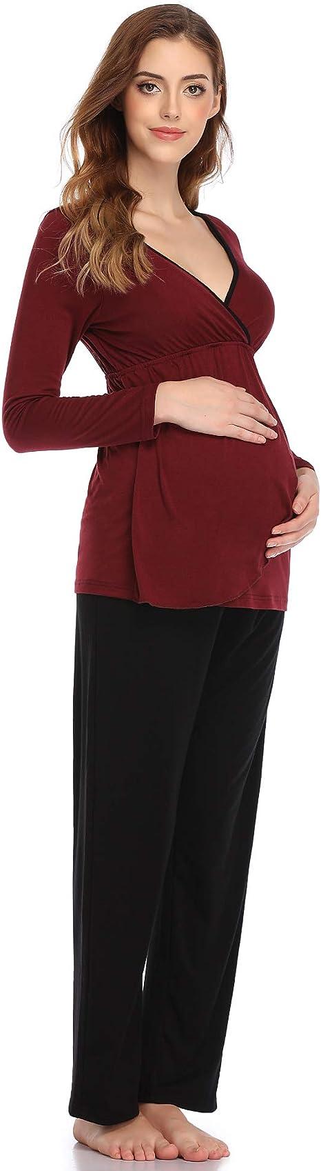 Aranmei Pigiama Premaman Donna Cotone Pigiama maternit/à Allattamento Manica Lung Top e Pantaloni per Parto Ospedale