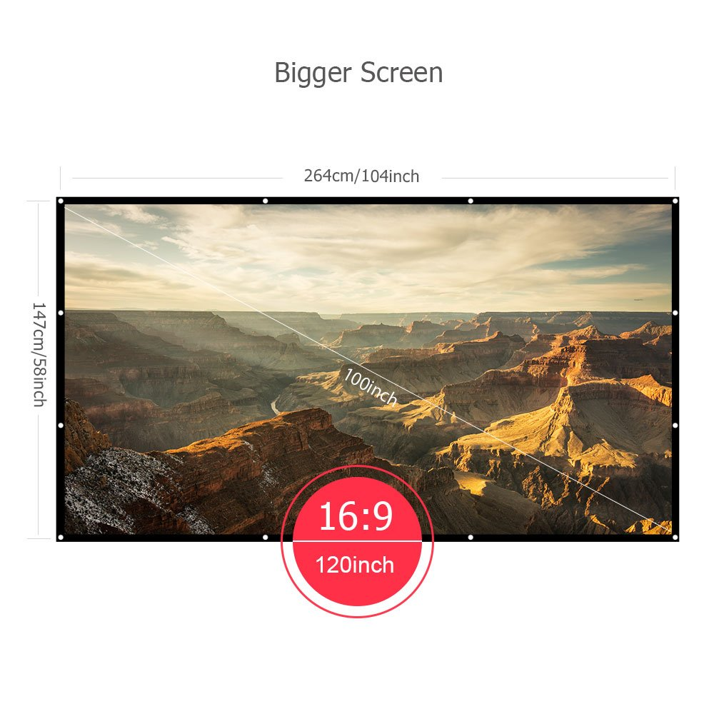 VANKYO Projector Screen 120 inches 16:9 Portable Indoor Outdoor Projection Polyester Spandex Movie Screen Foldable Wall Mounted with Peel and Hooks