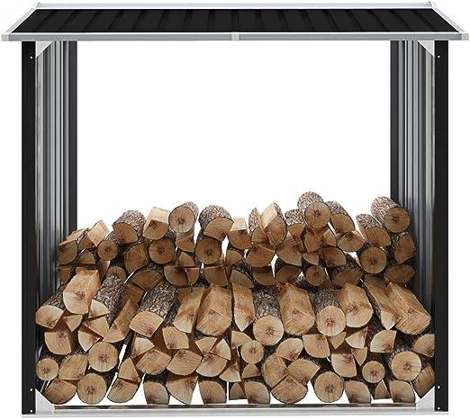 vidaXL - Caseta de Almacenamiento para Madera (Acero galvanizado, 172 x 91 x 154 cm), Color Gris: Amazon.es: Jardín